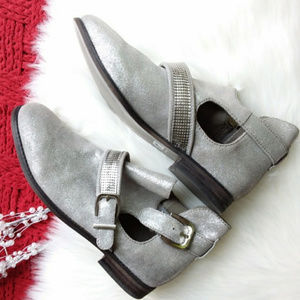 Metallic Silver Suede Booties w Embellished Buckle